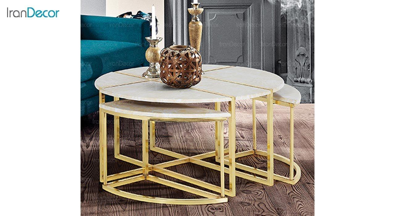 تصویر ست میز جلو مبلی طرح سنگ ماد مدل ویانا