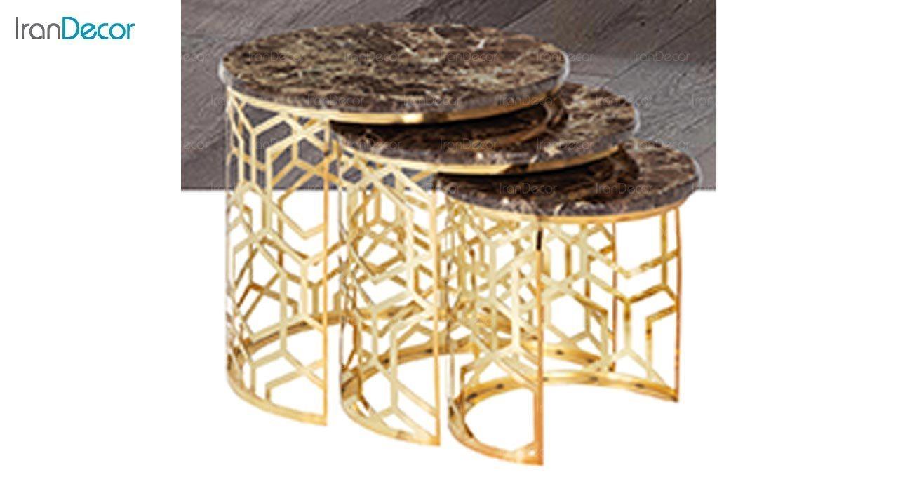 تصویر ست میز عسلی سه تکه طرح سنگ ماد مدل ریتا