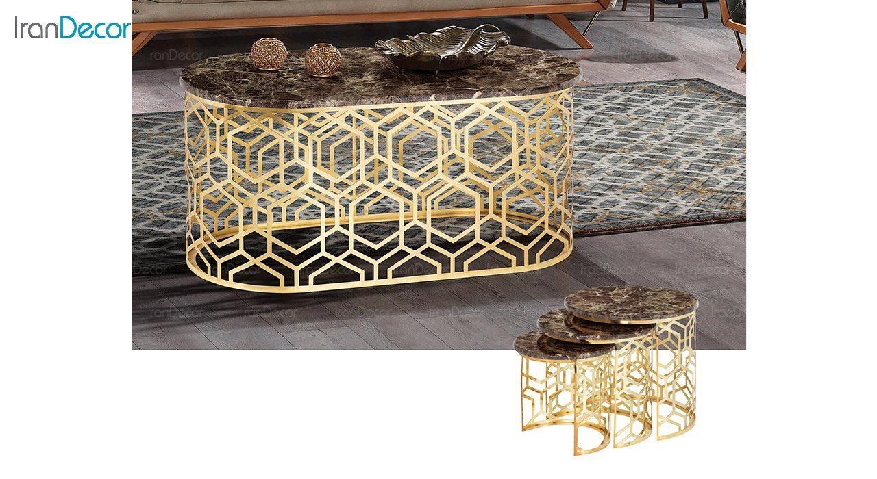 عکس ست میز عسلی سه تکه طرح سنگ ماد مدل ریتا