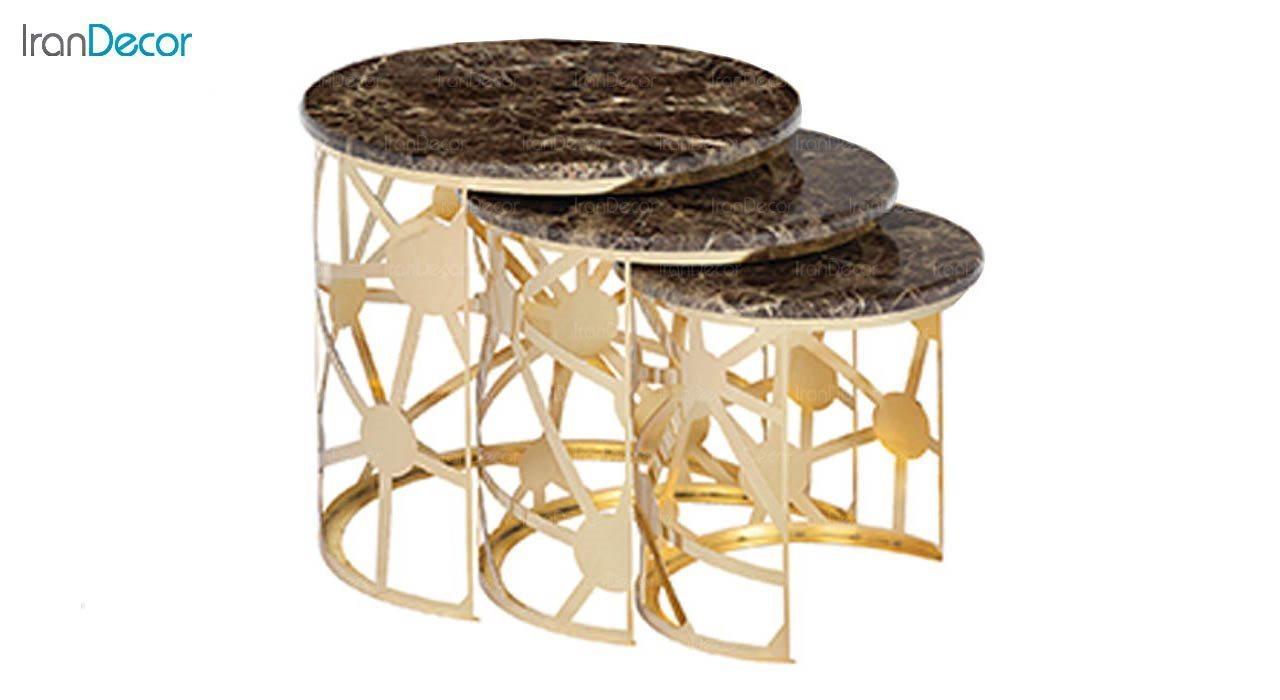 تصویر ست میز عسلی سه تکه طرح سنگ ماد مدل لیانا