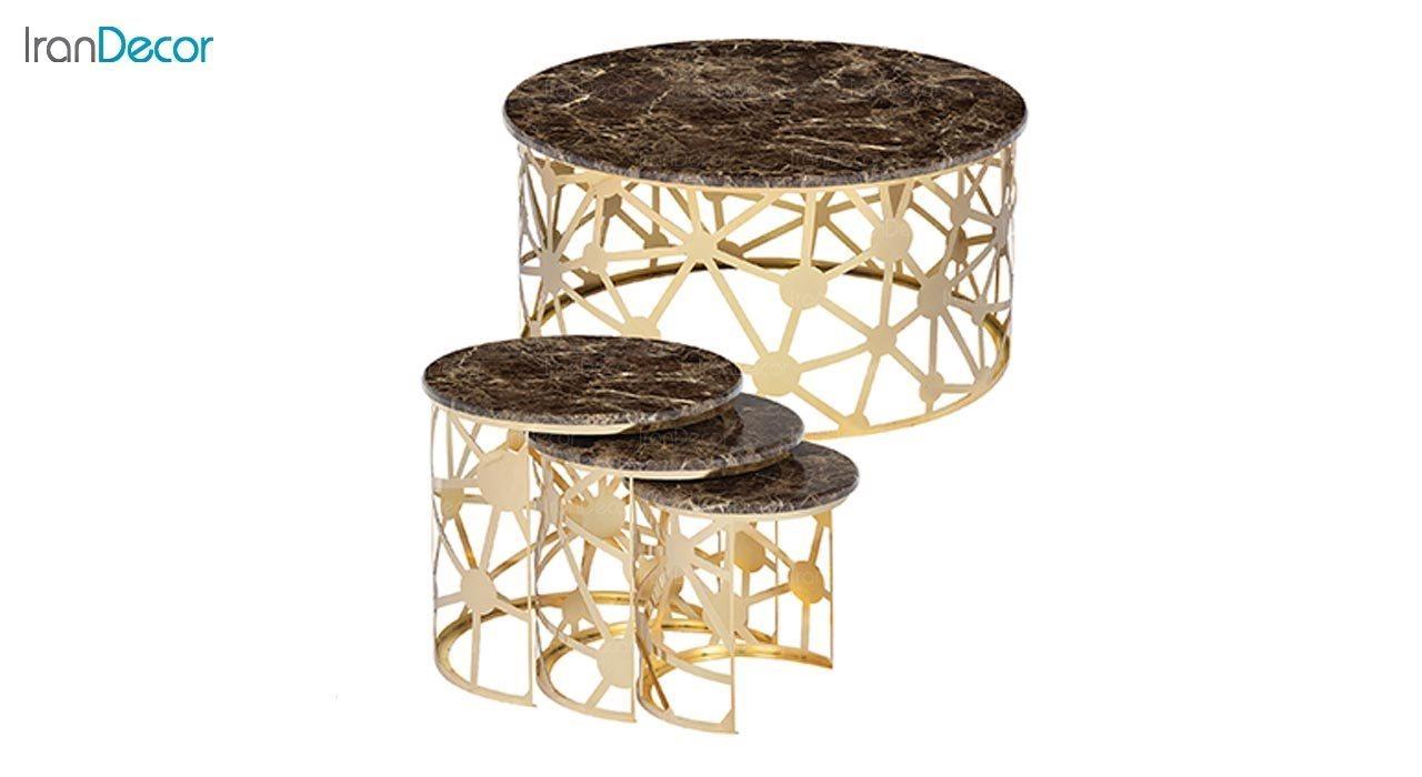 عکس ست میز عسلی سه تکه طرح سنگ ماد مدل لیانا