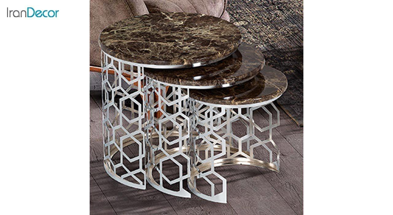 تصویر ست میز عسلی سه تکه طرح سنگ ماد مدل آمیکو