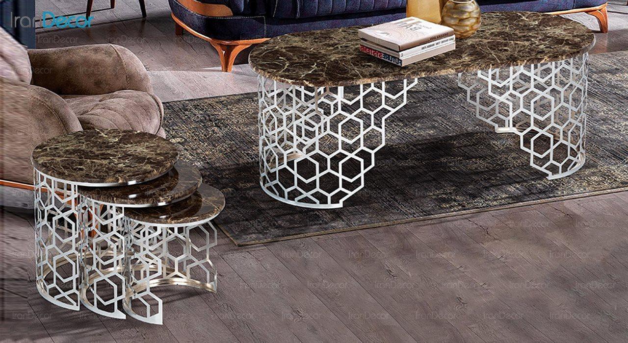 عکس ست میز عسلی سه تکه طرح سنگ ماد مدل آمیکو