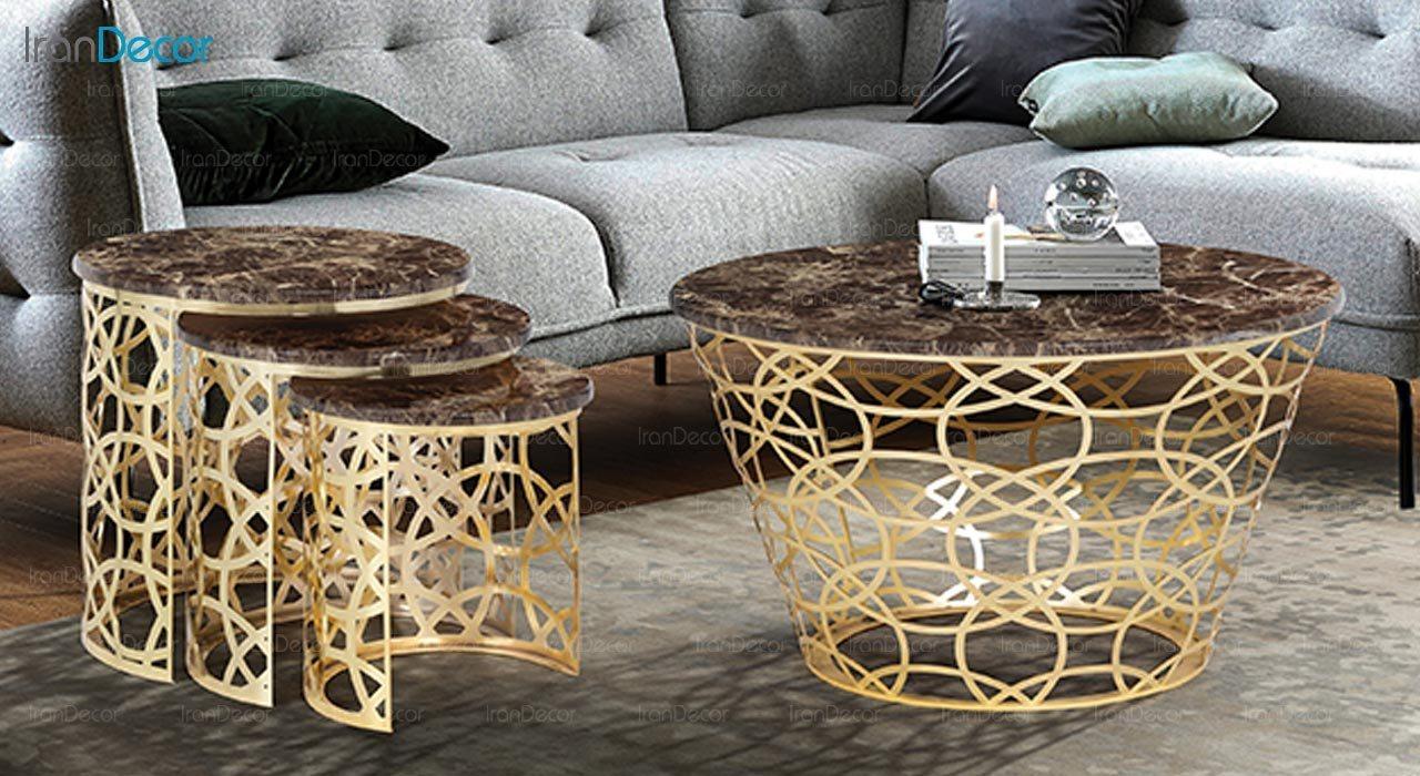 تصویر ست میز عسلی سه تکه طرح سنگ ماد مدل باسیل