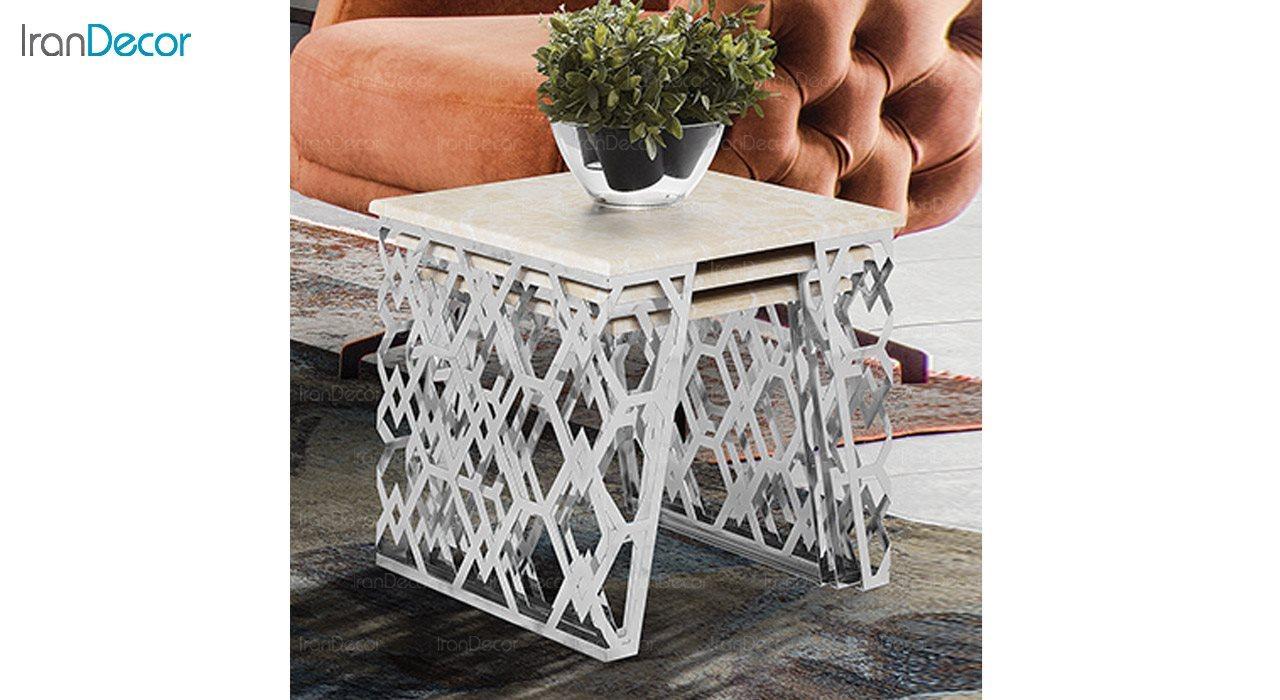 تصویر ست میز عسلی سه تکه طرح سنگ ماد مدل سلنا