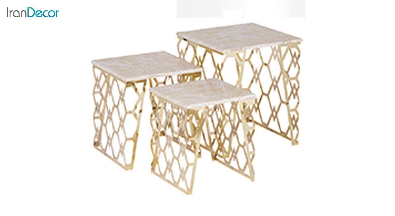 عکس ست میز عسلی سه تکه طرح سنگ ماد مدل سلنا