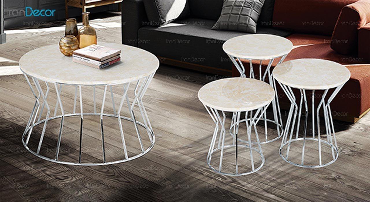 تصویر ست میز عسلی سه تکه طرح سنگ ماد مدل ترزا