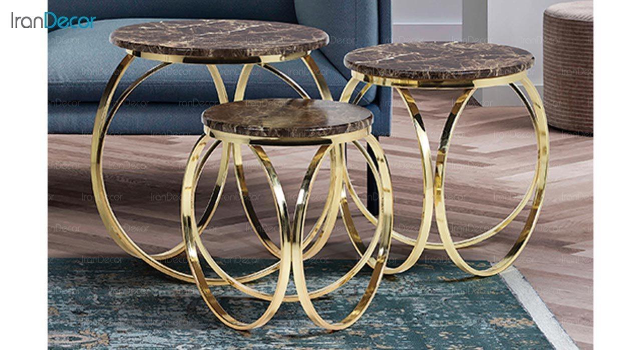 تصویر ست میز عسلی سه تکه طرح سنگ ماد مدل ماریا