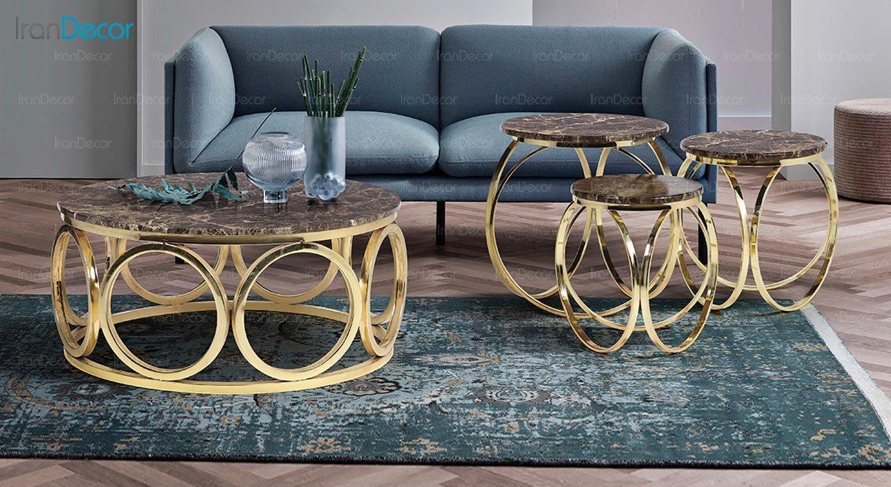 عکس ست میز عسلی سه تکه طرح سنگ ماد مدل ماریا