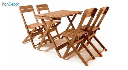 تصویر ست 4 نفره میز و صندلی تاشو چوبی مدل مزرعه