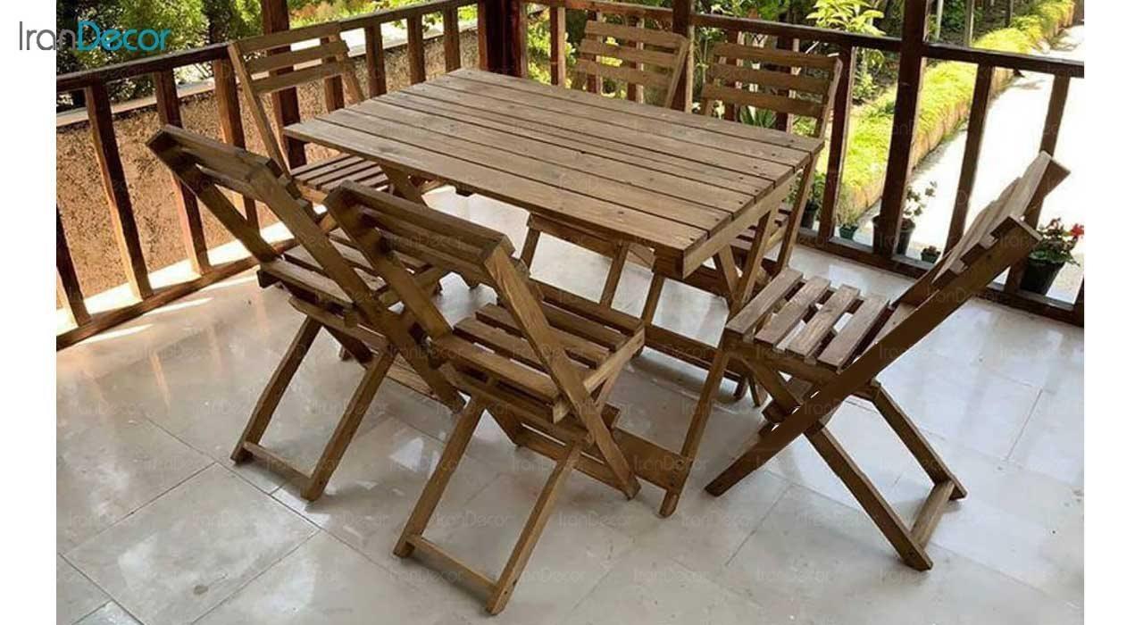 عکس چیدمان ست 6 نفره میز و صندلی تاشو چوبی مدل مزرعه