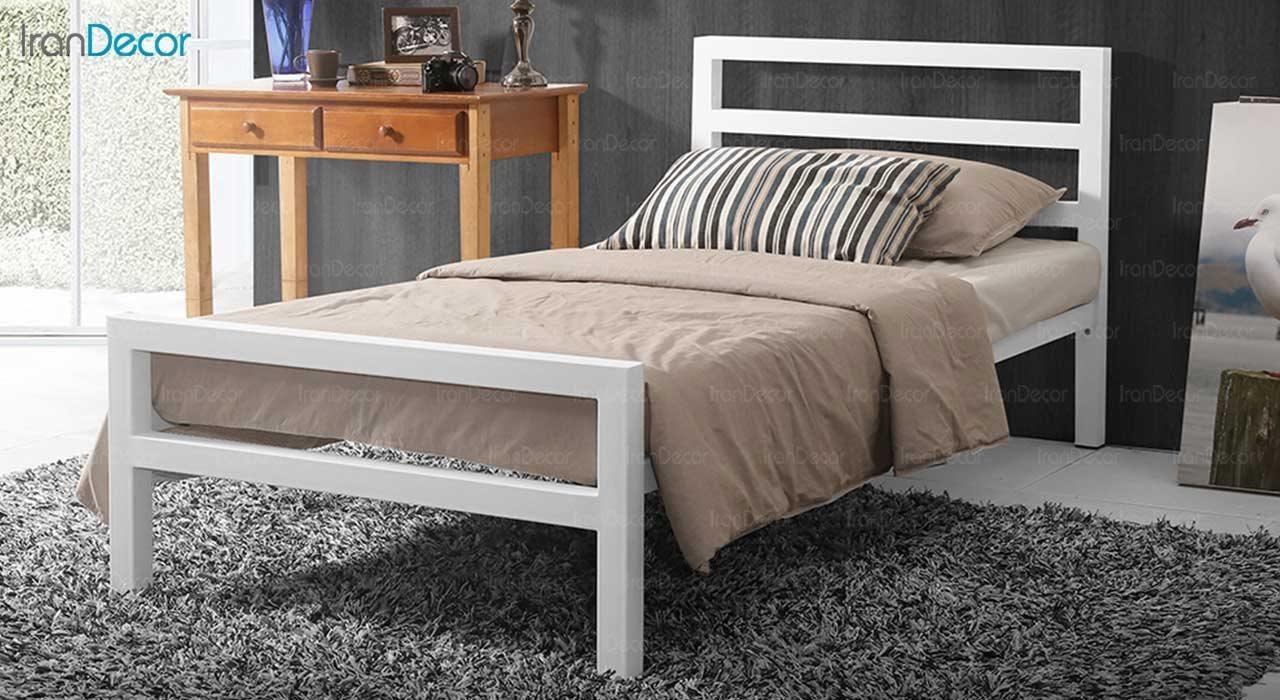 عکس تخت خواب یک نفره فلزی مدل سیتی سفید