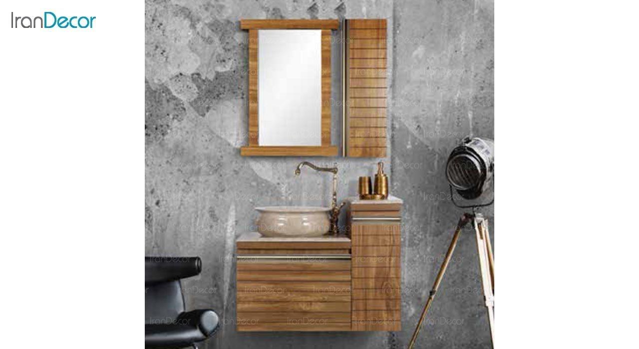 عکس ست روشویی دیواری طرح چوب مدل کاکتوس کد DZ2 با کاسه سنگی