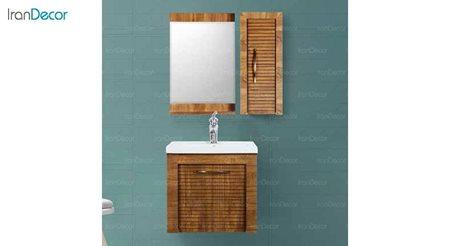 تصویر ست روشویی دیواری طرح چوب مدل بلونیا
