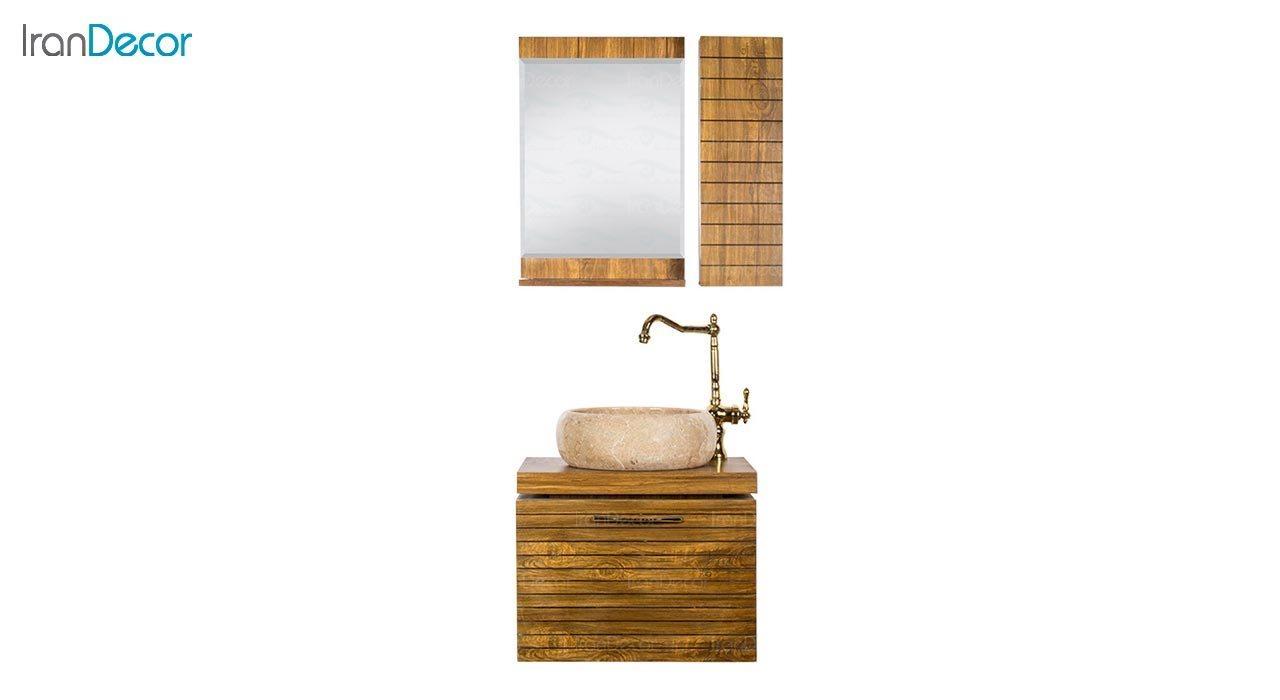 تصویر ست روشویی دیواری طرح چوب مدل راما
