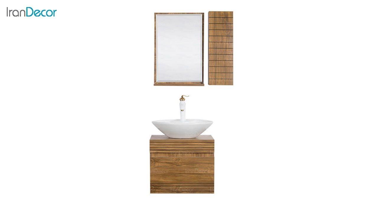 تصویر ست روشویی دیواری طرح چوب مدل ویونا