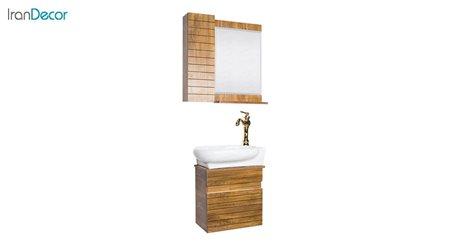 تصویر ست روشویی دیواری طرح چوب مدل آمون