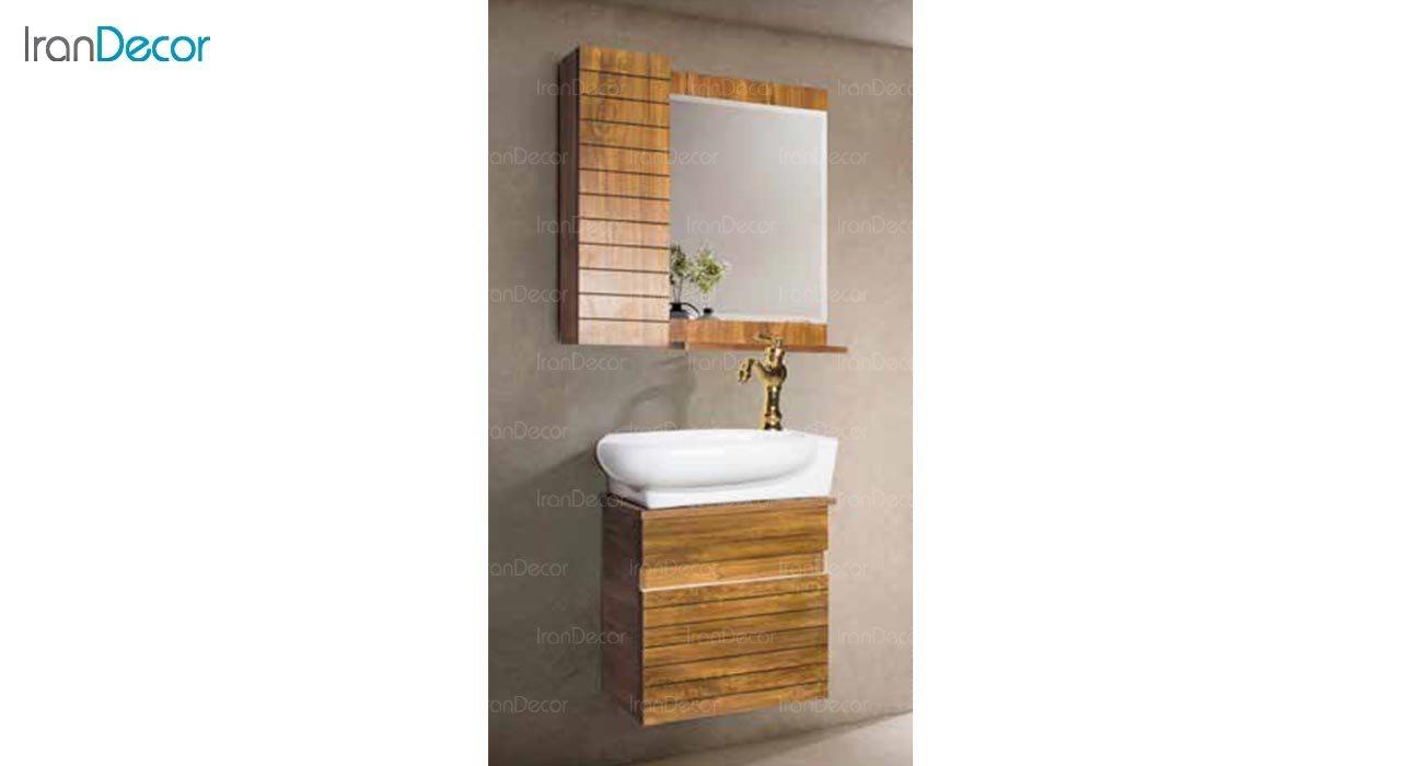 عکس ست روشویی دیواری طرح چوب مدل آمون
