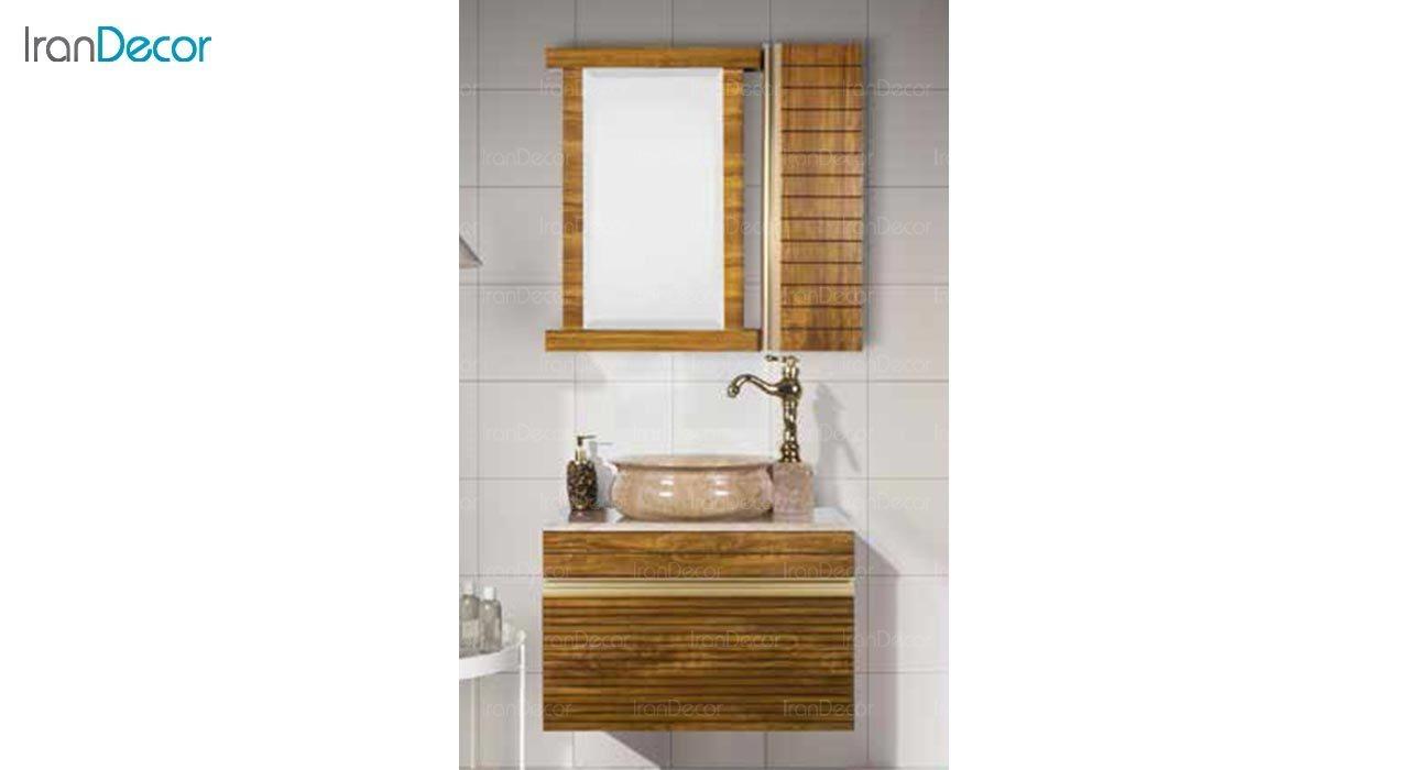 عکس ست روشویی دیواری طرح چوب مدل 70 DZ