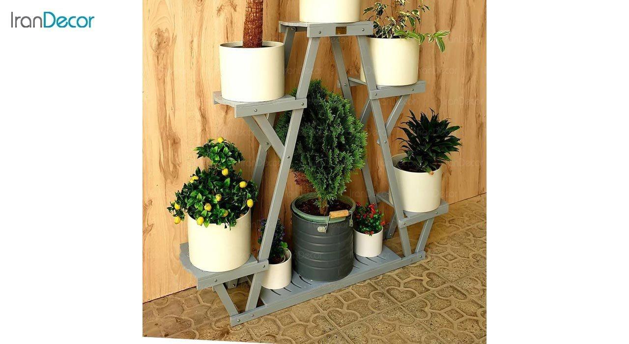 تصویر استند گل و گیاه چوبی مدل W71