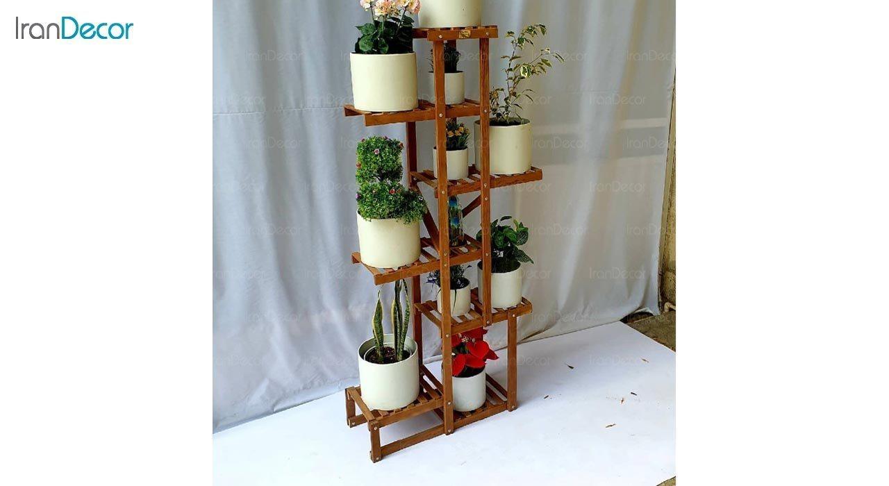 تصویر استند گل و گیاه چوبی مدل W49