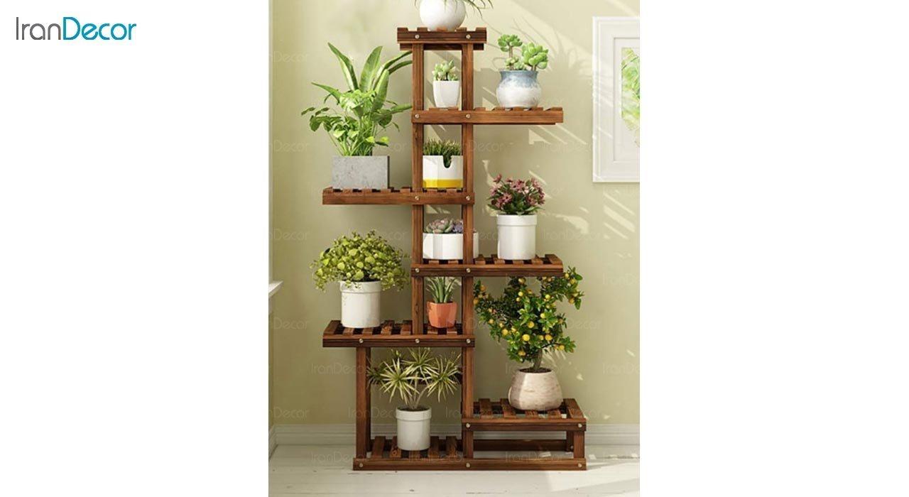 تصویر استند گل و گیاه چوبی مدل 49