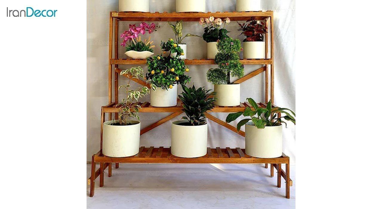 تصویر استند گل و گیاه چوبی مدل W70