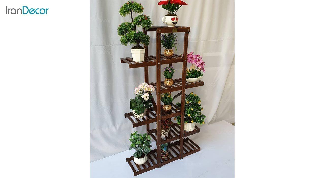 تصویر استند گل و گیاه چوبی مدل W19
