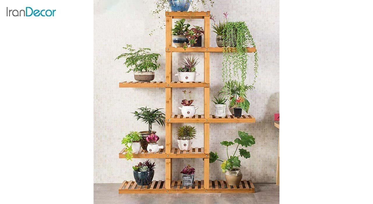 تصویر استند گل و گیاه چوبی مدل 19