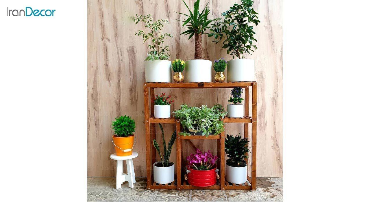 تصویر استند گل و گیاه چوبی مدل W5