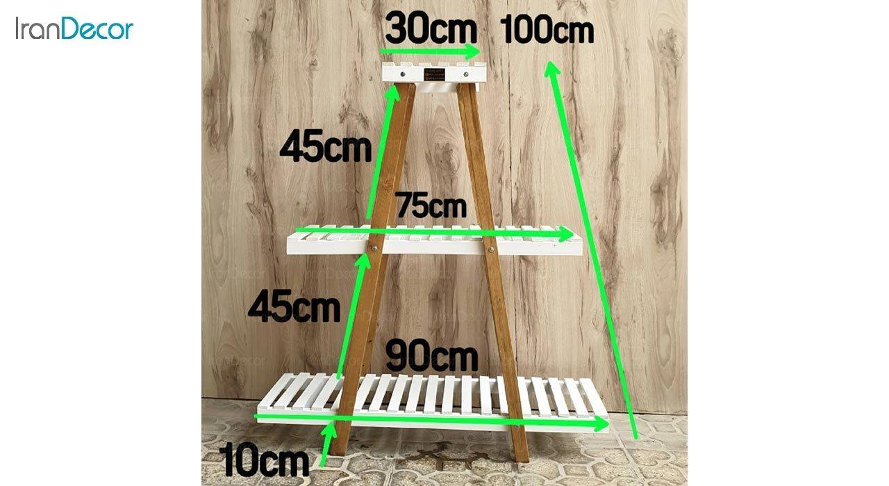 تصویر استند گل و گیاه چوبی سه طبقه مدل W55