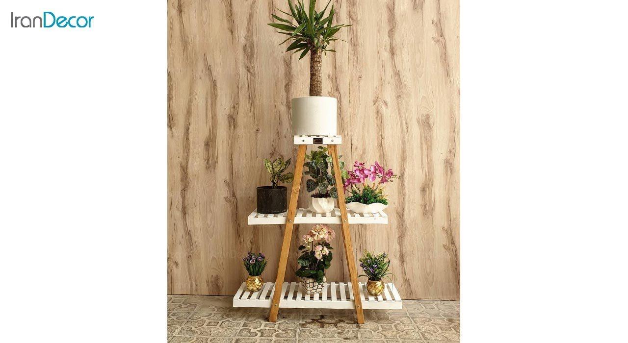 عکس استند گل و گیاه چوبی سه طبقه مدل W55