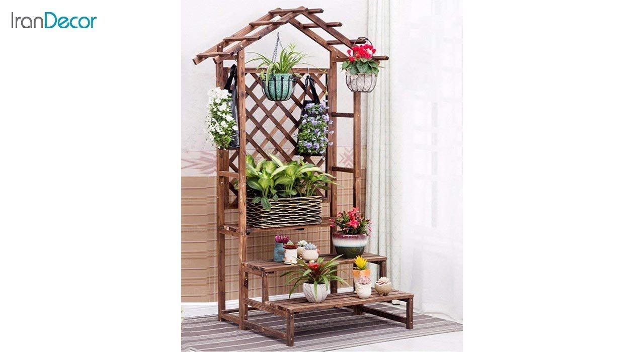 تصویر استند گل و گیاه چوبی مدل W32