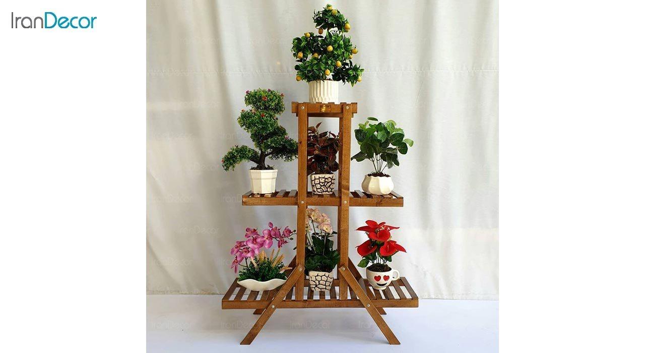 تصویر استند گل و گیاه چوبی مدل W23