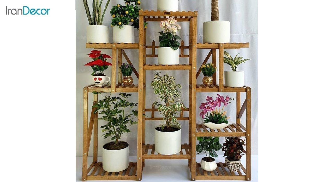 تصویر استند گل و گیاه چوبی مدل W6