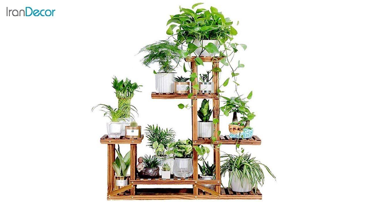 تصویر استند گل و گیاه چوبی مدل W11