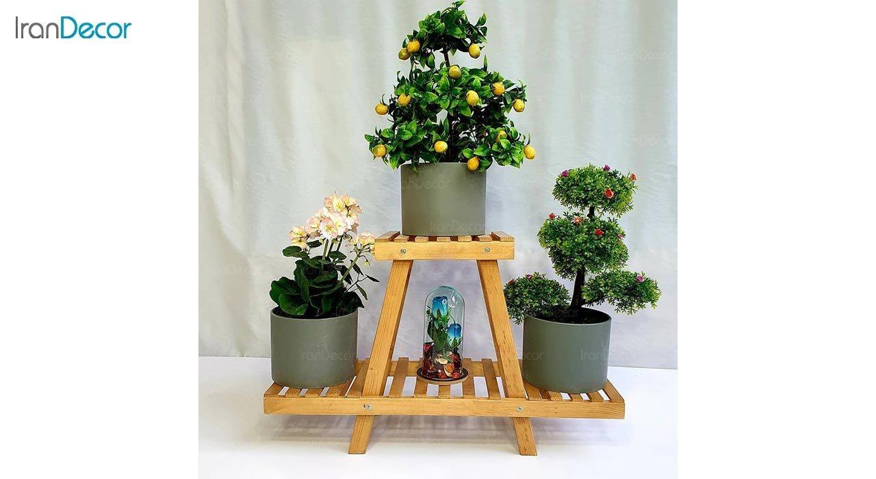 تصویر استند گل و گیاه چوبی دو طبقه مدل W5