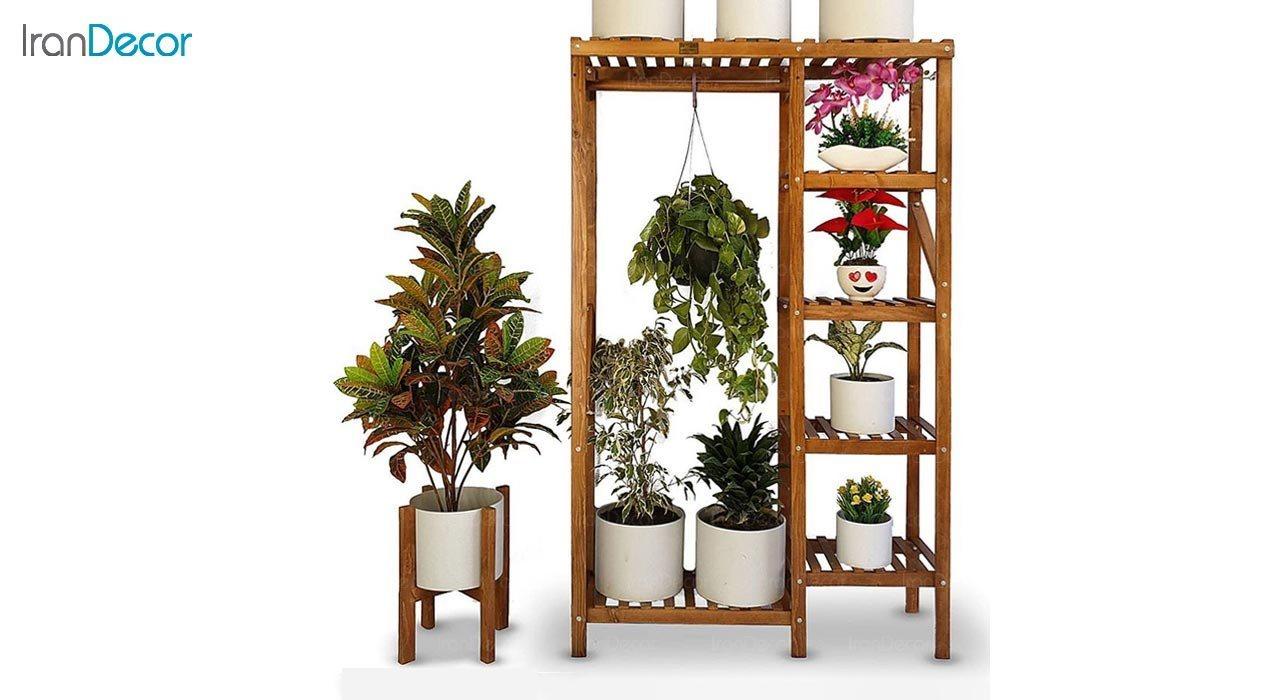 تصویر استند گل و گیاه چوبی مدل W39