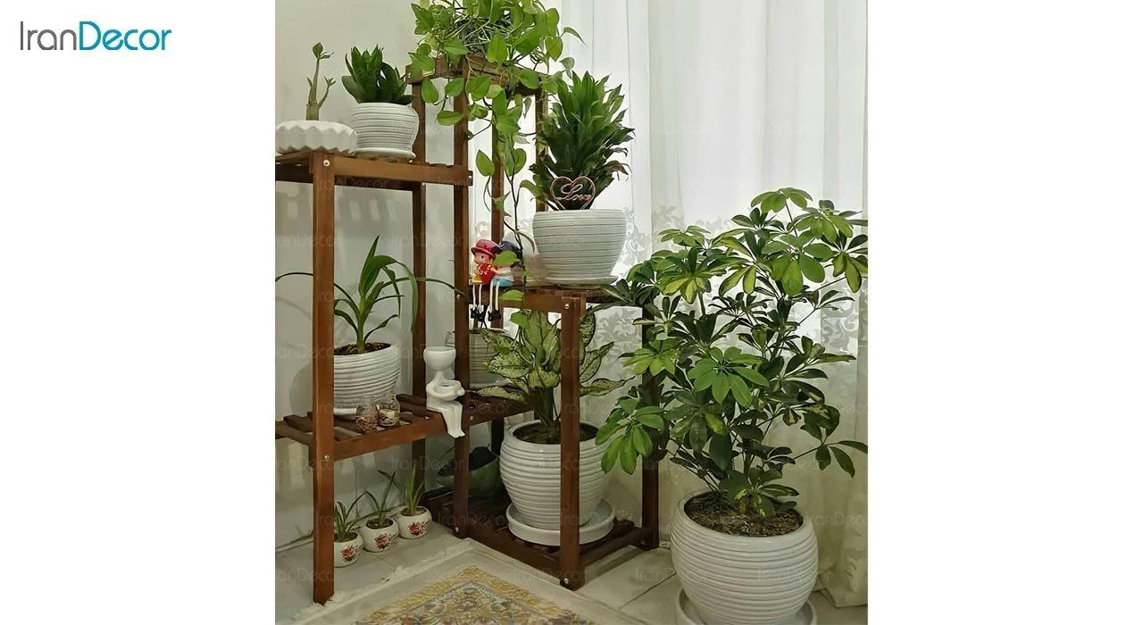 تصویر استند گل و گیاه چوبی مدل W37