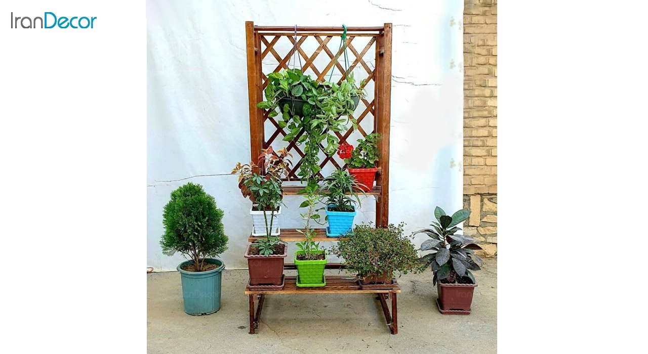 تصویر استند گل و گیاه چوبی مدل W66
