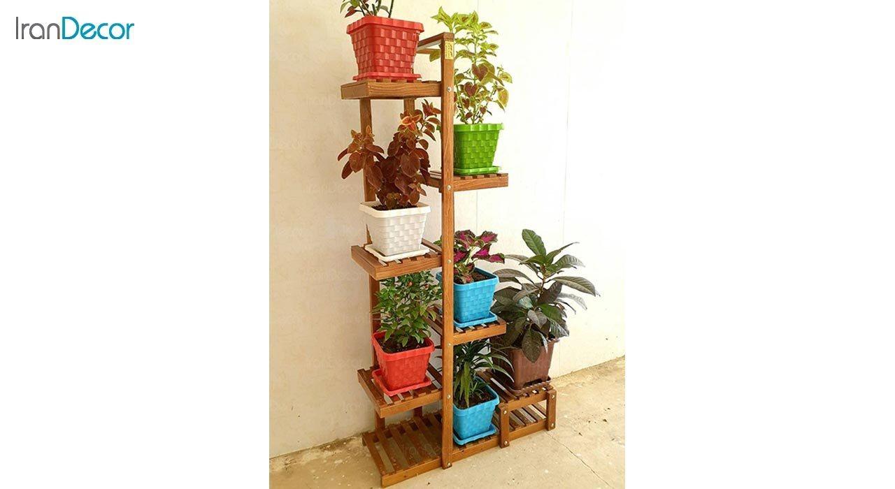 تصویر استند گل و گیاه چوبی مدل آبنوس کد W70