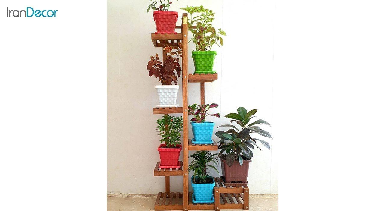 عکس استند گل و گیاه چوبی مدل آبنوس کد W70