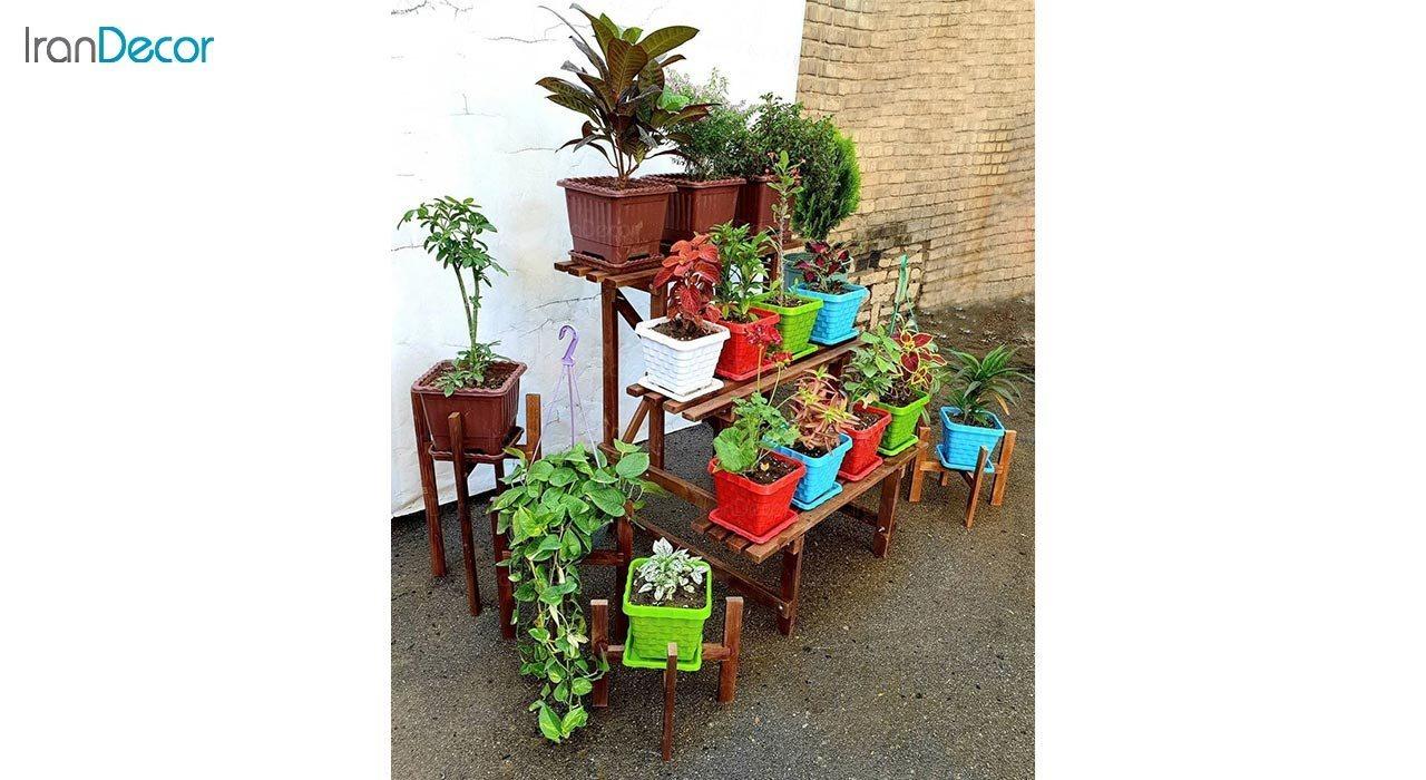 تصویر استند گل و گیاه چوبی مدل W57