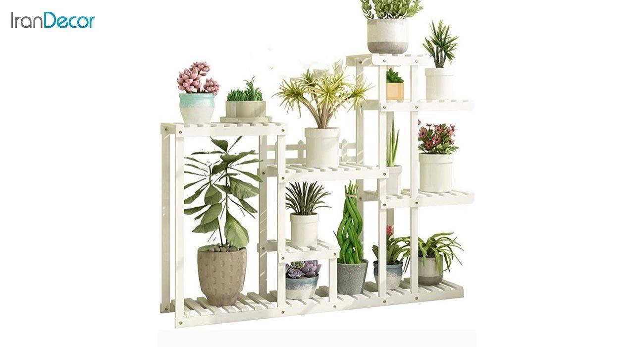 تصویر استند گل و گیاه چوبی مدل W42