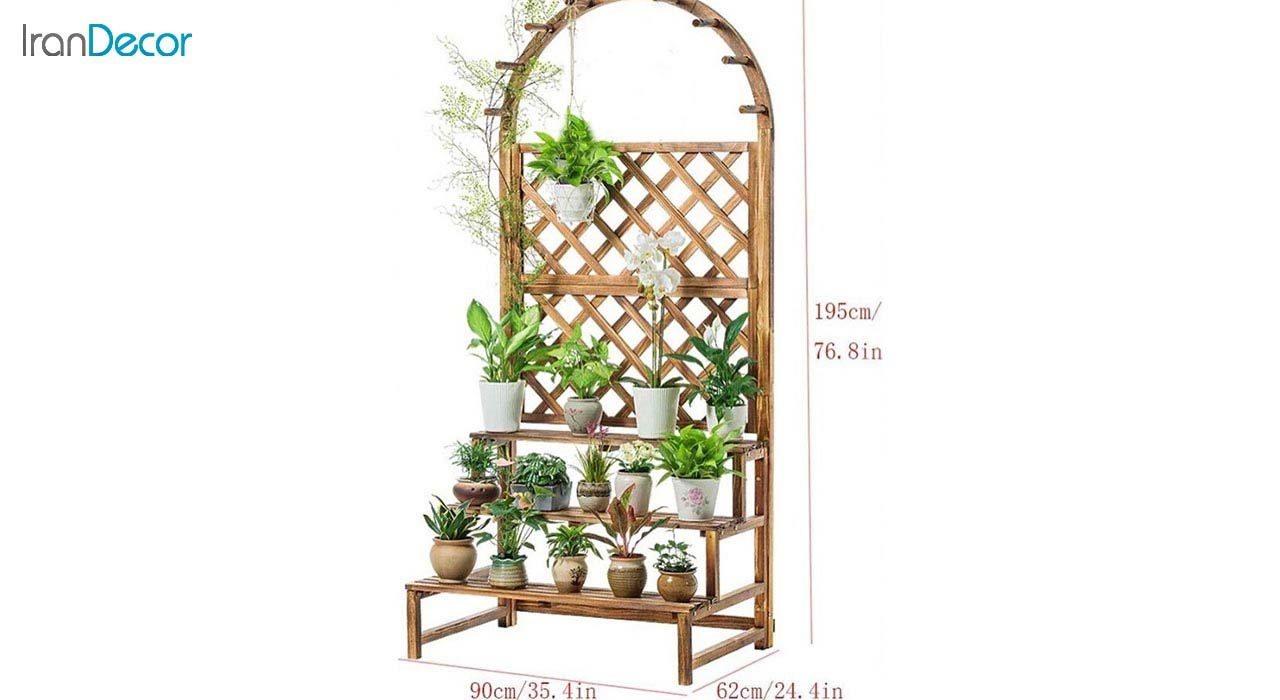تصویر استند گل و گیاه چوبی مدل W34