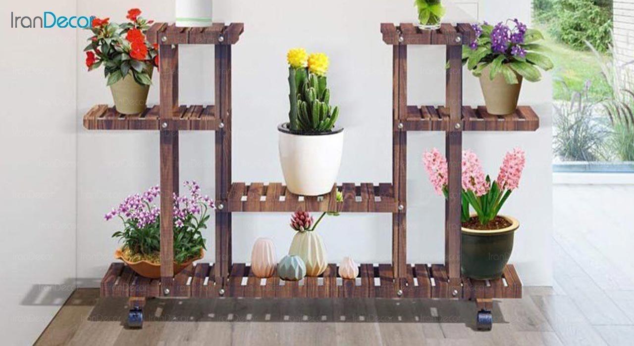 عکس استند گل و گیاه چوبی مدل W15