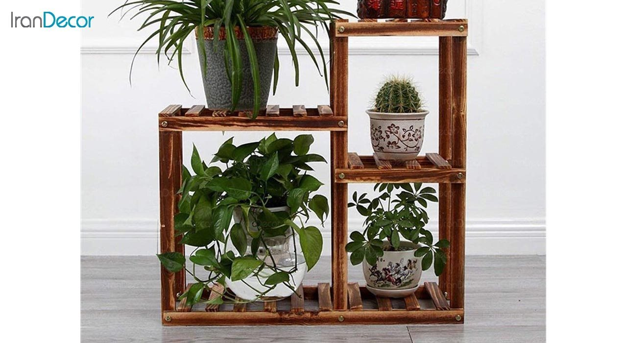 تصویر استند گل و گیاه چوبی مدل W13