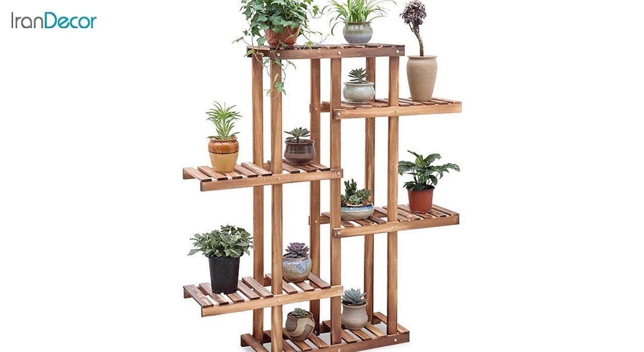 تصویر استند گل و گیاه چوبی مدل W9