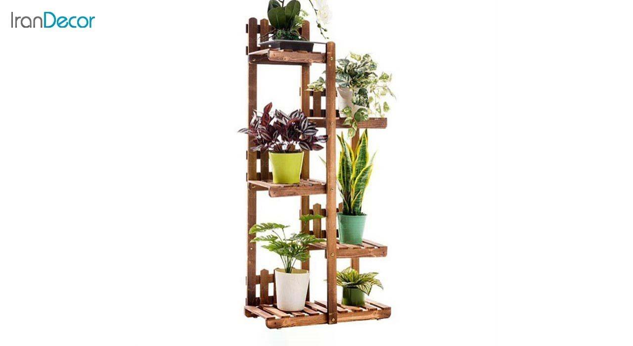 تصویر استند گل و گیاه چوبی مدل W7