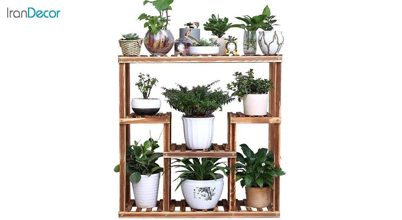 تصویر استند گل و گیاه چوبی مدل W3